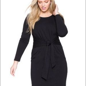 Eloquii Tie Waist Black Dress With Sleeves Sz 18